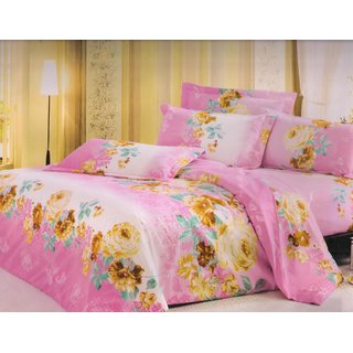 Welhouse India Pink Floral single bed sheet with 1 pillow cover