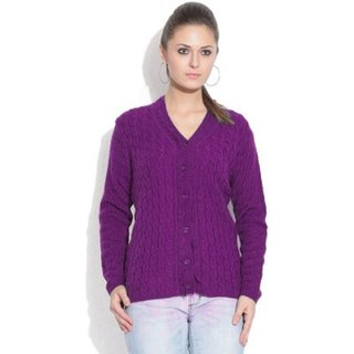 Sukuma Woolen Cardigan In Purple Shade