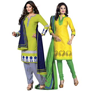 Drapes Yellow And Green Dupion Silk Embroidered Salwar Suit Dress Material (Pack of 2) (Unstitched)