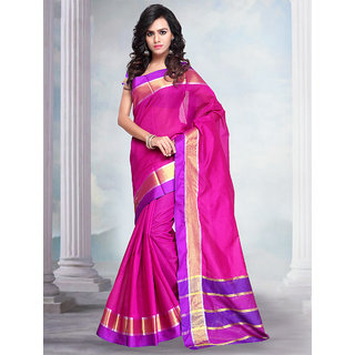 Prafful Magenta Cotton blend saree with unstitched blouse