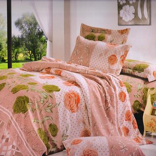 Welhouse India Beige Floral Single bed sheet with 1 pillow cover