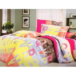 Welhouse India Alphabetical Stripes single bed sheet with 1 pillow cover