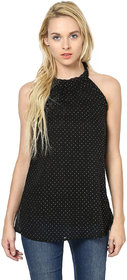Harpa Stylish Black Georgette Halter Neck Sleeveless Tops