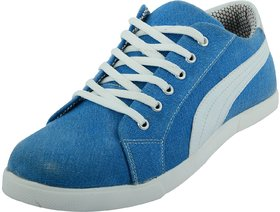Mens Blue and White Lace-Up Casual Shoes