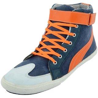 Mens Blue  Orange Lace-Up Casual Shoes