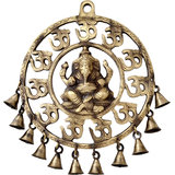 Brass Om Ganesha Wall Hanging With Bell