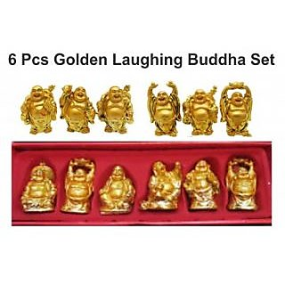 Feng Shui Golden Laughing Buddha for Happiness and Wealth Set of 6 Pcs