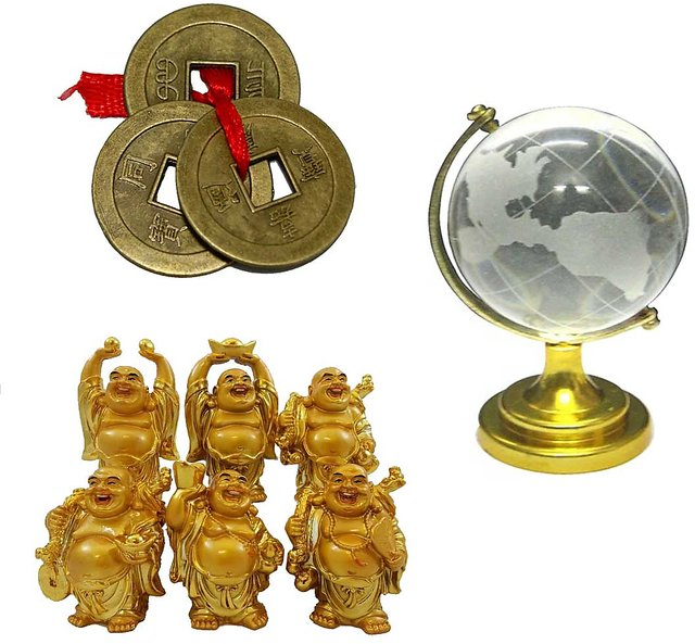 Only4you Feng Shui Crystal Globe, Chinese Coins & Laughing Buddhas - Combo  Of 8