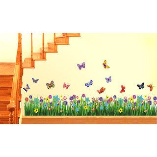 Pvc Walking In The Garden Flower Border Design Wall Sticker (20X28 Inch)