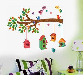 Pvc Nursery Colourful Bird House On A Branch Wall Sticker (20X28 Inch)