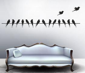 Walltola Pvc Black Beautiful Long Tail Birds On Wire Wall Sticker (59X12 Inch) (No. Of Pieces 1)