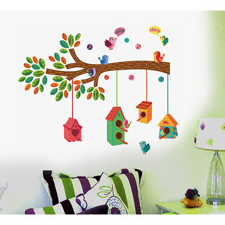 Pvc Nursery Colourful Bird House On A Branch Wall Sticker (20X28 Inch)
