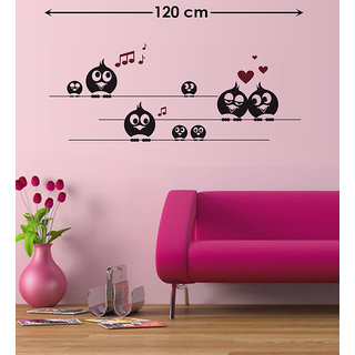Pvc Black Birds With Big Eyes Wall Sticker (47X26 Inch) & wall stickers wall decal Wall stickers wall sticker wall ...