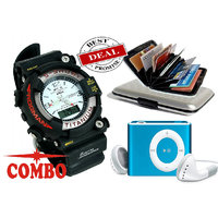 Afiya Combo of Men's Watch, Watch Card Holder and Mp3 Player