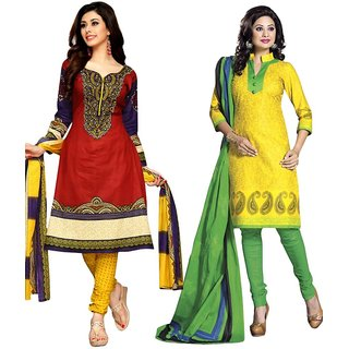 Drapes Yellow And Red Cotton Embroidered Salwar Suit Dress Material (Pack of 2) (Unstitched)