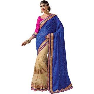 Prafful Blue Jacquard-Net saree with unstitched blouse
