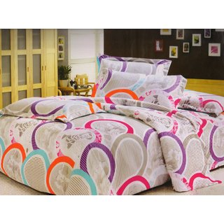 Welhouse India Checks  Rings Single bed sheet with 1 pillow cover