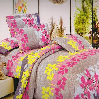 Welhouse India leafy Plants Single bed sheet with 1 pillow cover