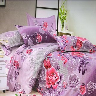 Welhouse India Purple Flowery Single bed sheet with 1 pillow cover