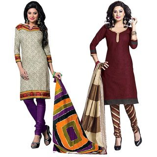 Drapes Multicolor Cotton Embroidered Salwar Suit Dress Material (Pack of 2) (Unstitched)