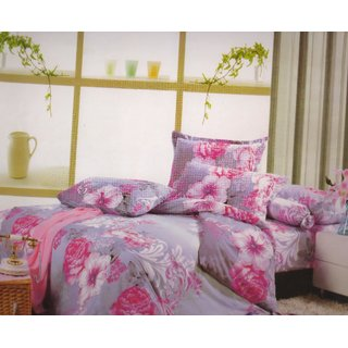 Welhouse India Pink Flowery Gray Single bed sheet with 1 Pillow cover