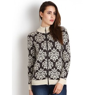 Womens Black color Woollen Printed Zippered Cardigan by Intense
