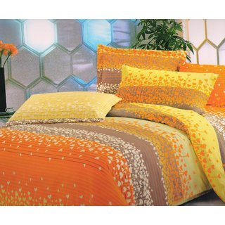 Welhouse India Orange baby theme single bed sheet with 1 pillow cover