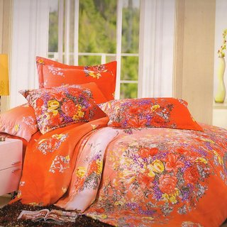 Welhouse India Orange Traditional Single bed sheet with 1 pillow cover