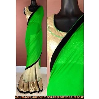 Green Pallu Half-Half Designer Saree - Online Shopping for Sarees