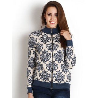 Womens Blue color Woollen Printed Zippered Cardigan by Intense