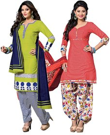Drapes Peach And Green Cotton Embroidered Salwar Suit Dress Material (Pack of 2) (Unstitched)