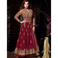 Fabliva Maroon  Beige Embroidered Net Anarkali Suit