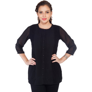 SOIE Womens Black Cotton Casual Shirt