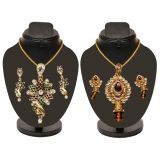 Combo Of 2 Trendy Heavy Pendent Set With Golden Chain D And Y 1049