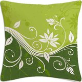Green Flower Abstract Digital Printed Cotton Cushion Cover