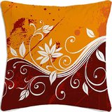 Orange Flower Abstract Digital Printed Cotton Cushion Cover)
