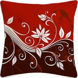 Red Flower Abstract Digital Printed Cotton Cushion Cover)