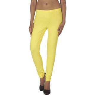 Soie Yellow Cotton Solid Leggings