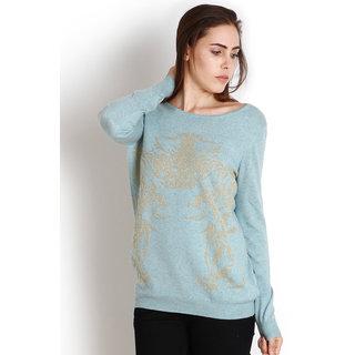 Womens Blue color Woollen Printed Skivvy Top by Intense