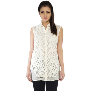 SOIE Womens White Polyester Casual Shirt
