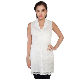 SOIE Womens White Nylon Casual Shirt