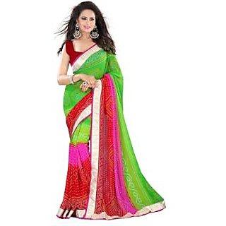 Glory Sarees Printed Bandhani Georgette Sari