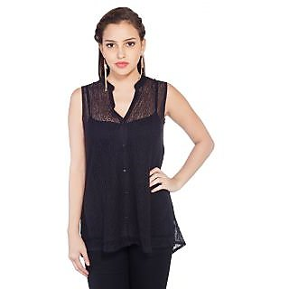 SOIE Womens Black Nylon Casual Shirt