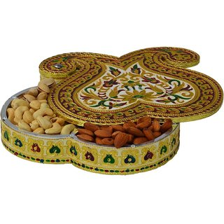 meenakari Decorative Dry Fruit multipurpose Box container with 7 Partitions
