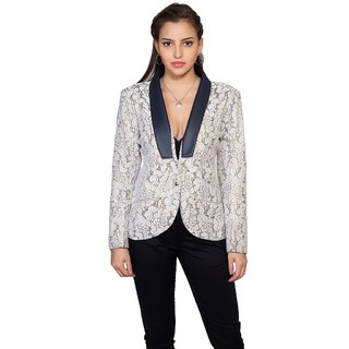 Womens White Casual Lapel Collar Jacket by Intense