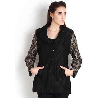 Womens Black Casual Lapel Collar Jacket by Intense