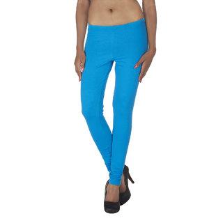Soie Blue Cotton Solid Leggings