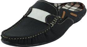 Factory London Men's Black and White Back Less Slip Sandals