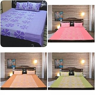 Akash Ganga Pure Cotton 4 Double Bedsheets with 8 Pillow Covers (Beautiful)