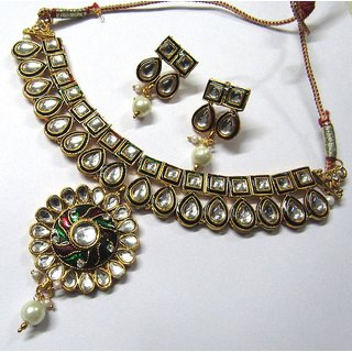 Maroon Green Meenakari Pendant Choker Necklace Set